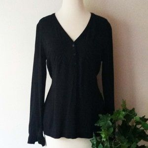 Old Navy Long Sleeve 3 Button Henley V Neck Blouse